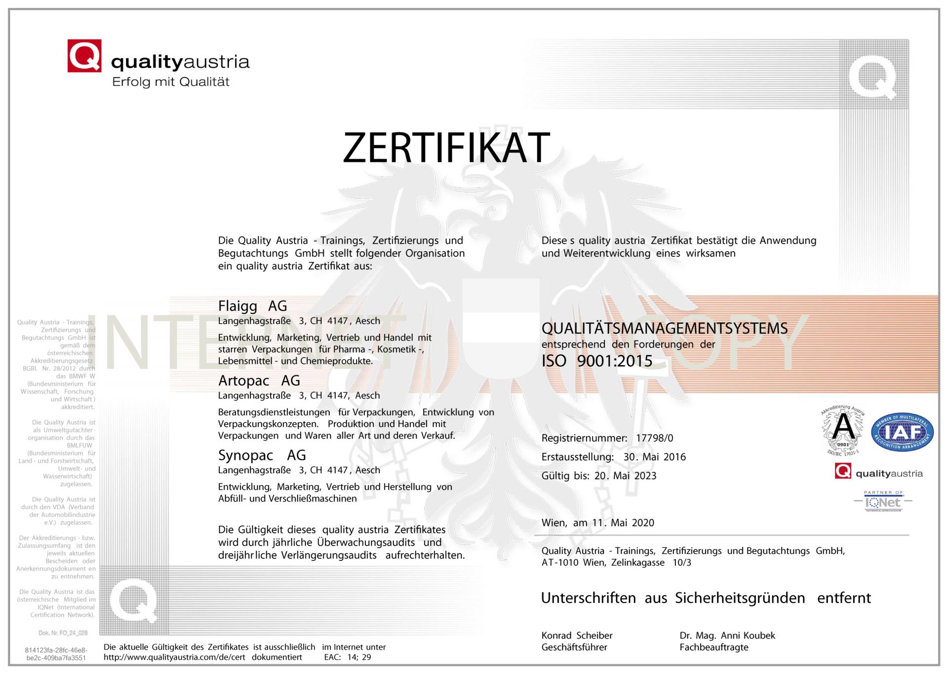 ISO 9001 2015 Zertifikat